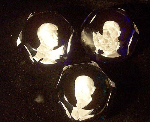 THREE BACCARAT SULPHIDE PAPERWEIGHTS