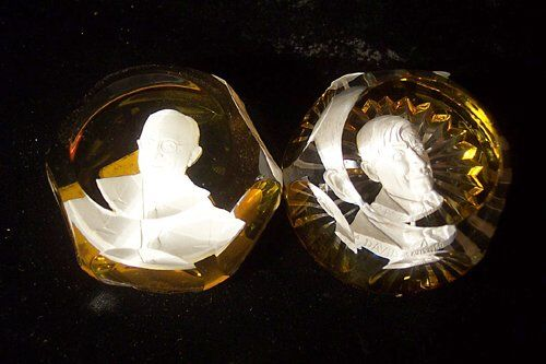 TWO BACCARAT SULPHIDE PAPERWEIGHTS