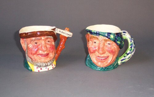 437: TWO STAFFORDSHIRE PORCELAIN CHARACTER JU