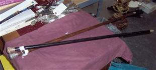 EBONY WALKING STICK WITH GOLD PLATED HAN