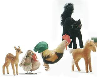 FIVE STEIFF STUFFED ANIMALS