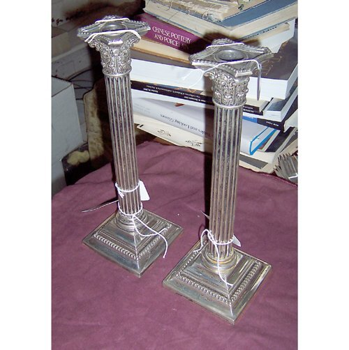 577: PAIR OF STERLING SILVER CANDLESTICKS