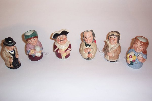 2008: SIX MINIATURE ROYAL DOULTON TOBY MUGS