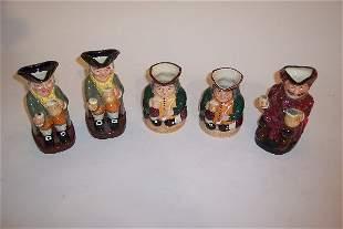 FIVE ROYAL DOULTON TOBY MUGS