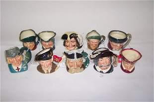TEN SMALL ROYAL DOULTON CHARACTER MUGS