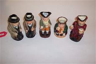 FIVE SMALL ROYAL DOULTON TOBY MUGS