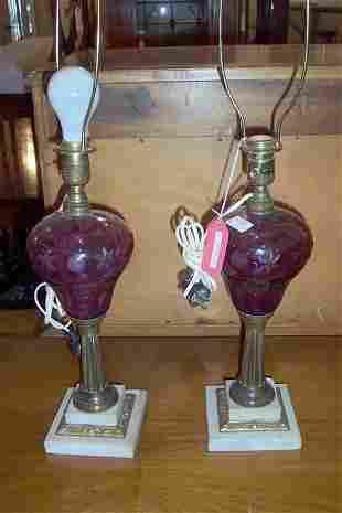 PAIR OF LAVENDER CUT GLASS, BRASS & MAR