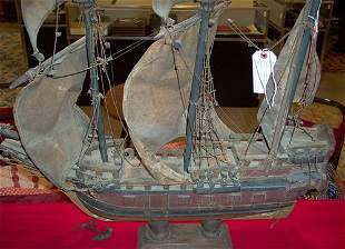 CARVED & PAINTED MODEL OF THE MAYFLOWER