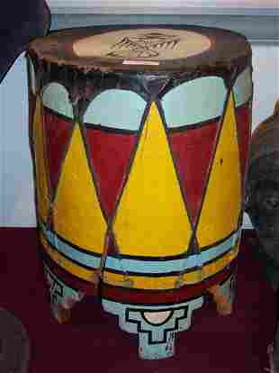 INDIAN BUCKET PAINTED RED, YELLOW, BLUE