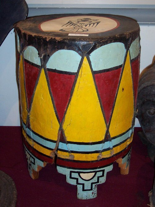 2366: INDIAN BUCKET PAINTED RED, YELLOW, BLUE