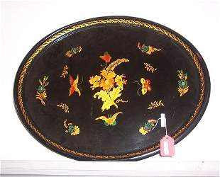 OVAL PAINTED TOLE TRAY WITH STAND