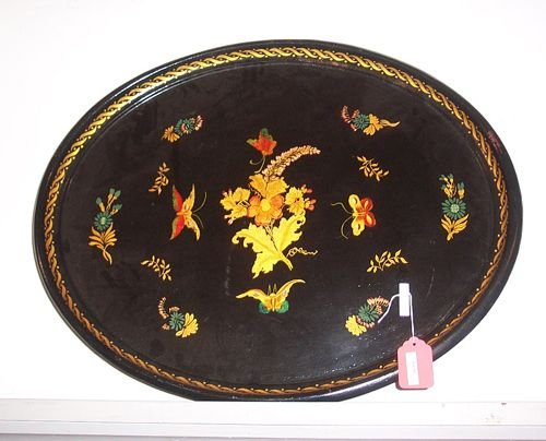 2367: OVAL PAINTED TOLE TRAY WITH STAND