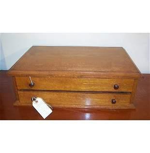 TWO-DRAWER OAK SPOOL BOX