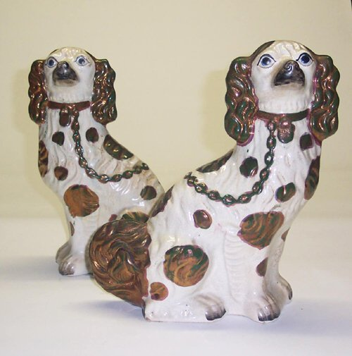 3: PAIR OF STAFFORDSHIRE SPANIELS  England, 1