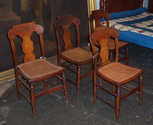 12: FOUR CLASSICAL TIGER MAPLE CANE SEAT CHAI