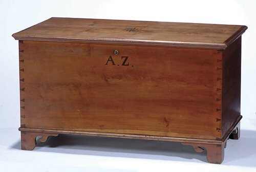 21: INLAID CHERRY BLANKET CHEST  19th c.  The