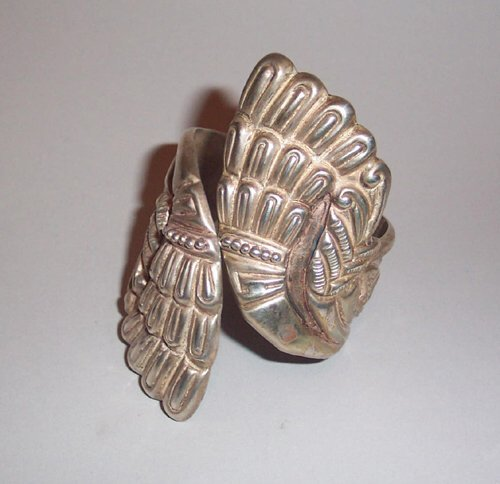 2: MEXICAN SILVER BANGLE An Aztec design of t