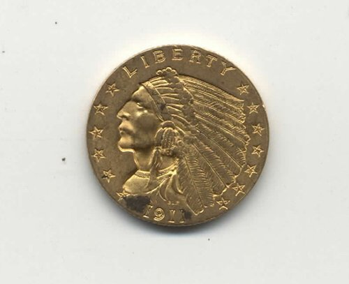 19: 1911 US TWO AND ONE HALF DOLLAR GOLD PIEC