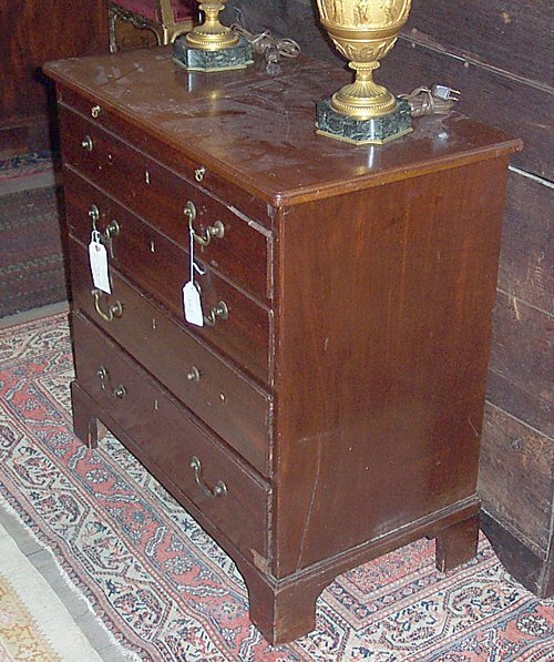 2: GEORGE III MAHOGANY CHEST OF DRAWERS Ca. 1