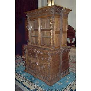 PAIR OF VICTORIAN CARVED OAK LIBRARY BOOKC