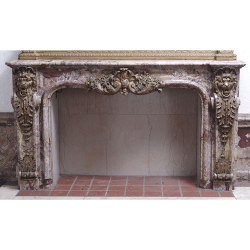 159: IMPRESSIVE LOUIS XV-STYLE ROUGE MARBLE &