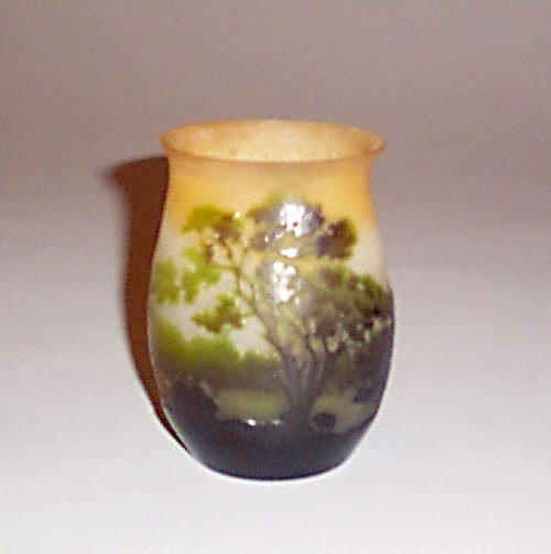 2: GALLE CAMEO GLASS LANDSCAPE VASE Etched gl