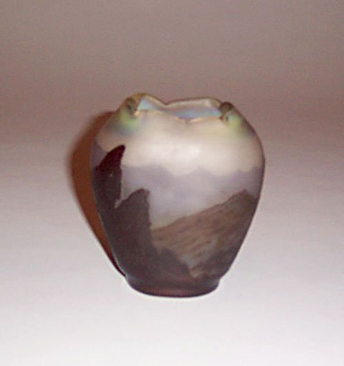 3: FINE GALLE 'MOUNTAIN' CAMEO GLASS VASE Etc