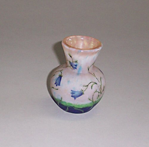 5: DAUM NANCY CABINET VASE Etched, enameled &