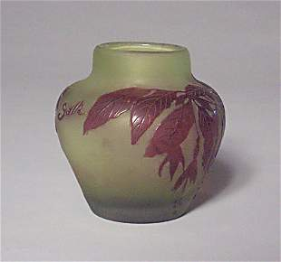 GALLE CAMEO GLASS VASE Overlaid & etched g