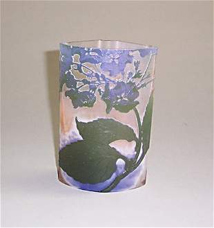 GALLE CAMEO GLASS VASE Etched, carved & p