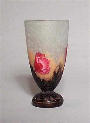 DAUM NANCY CAMEO GLASS VASE Etched, carve