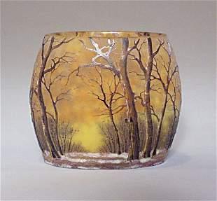 "DAUM NANCY CAMEO GLASS ""WINTER"" VASE Etch"