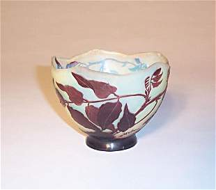 GALLE CAMEO GLASS BOWL Etched, carved & p