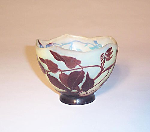 17: GALLE CAMEO GLASS BOWL Etched, carved & p