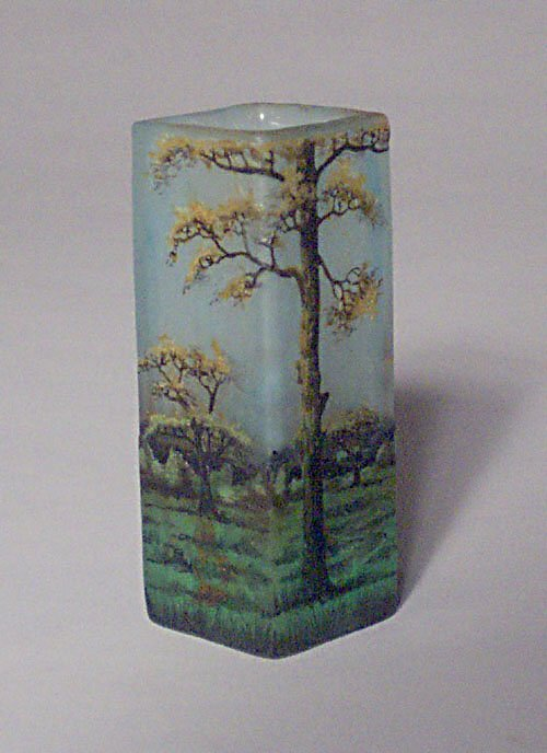 21: DAUM NANCY CABINET VASE Etched & enameled