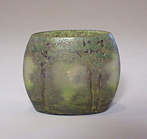 "22: DAUM NANCY ""FOREST"" VASE Etched & enamele"