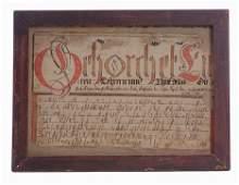 2199: FRAKTUR: A VORSCHRIFT Dated 1806 Ink and watercol