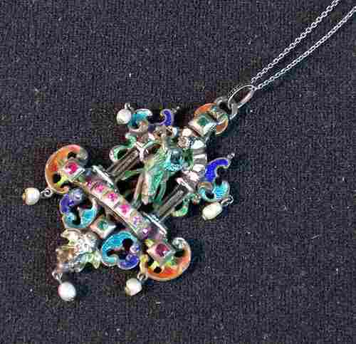 SILVER, ENAMEL & JEWELED PENDENT WITH NECK CHAIN A l