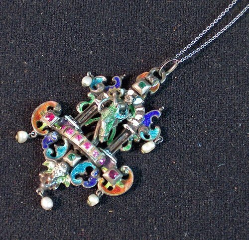 6: SILVER, ENAMEL & JEWELED PENDENT WITH NECK CHAIN A l