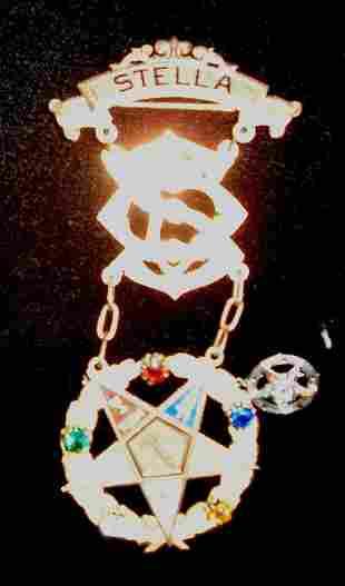MASONIC PIN 19th c. Given by the Stella Chapter, Wo