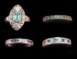 FOUR GOLD DIAMOND, EMERALD & SAPPHIRE BANDS 20th c.