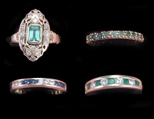 19: FOUR GOLD DIAMOND, EMERALD & SAPPHIRE BANDS 20th c.