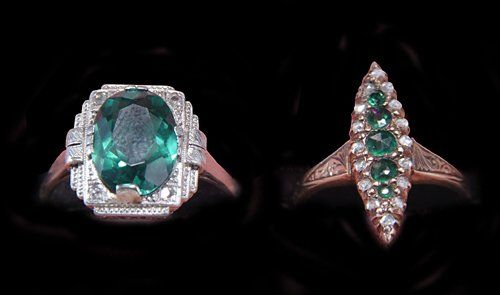 TWO TOURMALINE & DIAMOND RINGS 20th c. Each with ma