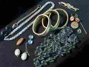 TWO BAGS OF ASSORTED COSTUME & VICTORIAN JEWELRY 19