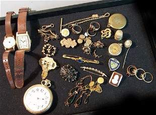 ASSORTED VICTORIAN JEWELRY & WATCH LOT Consisting o