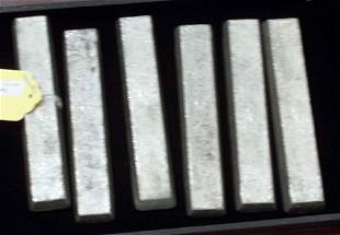 """SIX BARS OF SILVER Marked NS."""" Total wt: 120 oz."""""""