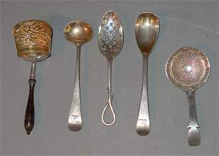 FIVE-PIECE ASSORTED ENGLISH TEA SCOOPS, SMALL SPOON