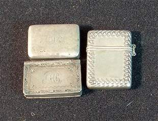 ENGLISH SILVER VINAIGRETTE AND TWO STERLING BOXES 1