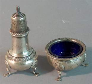 STERLING SILVER SALT AND PEPPER 20th c. Caster with
