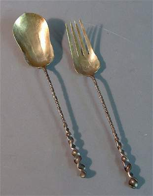 STERLING SILVER SALAD SERVER 20th c. With free-form